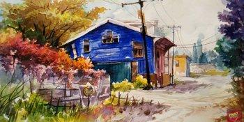 آموزش نقاشی چشم انداز طبیعت با آبرنگ