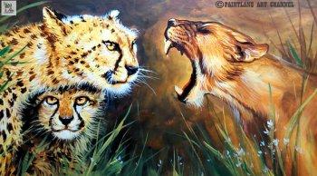 آموزش نقاشی شیر ماده و یوزپلنگ با اکریلیک