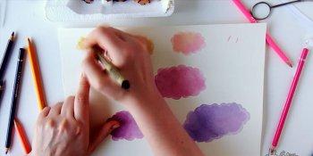 آموزش نقاشی آبرنگ - آسمانی با ابرهای گوسفندی