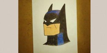 آموزش نقاشی Batman با مدادرنگی برای کودکان
