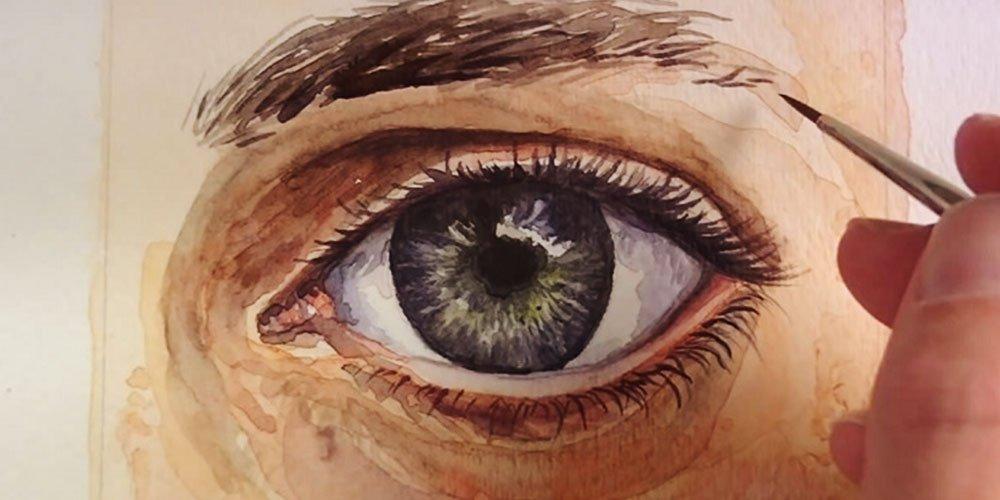 آموزش نقاشی چشم واقع گرایانه با آبرنگ