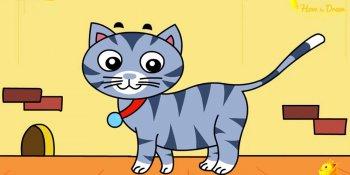 نقاشی یک گربه ( کودکان )