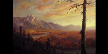 نقاشی رودخانه در جنگل