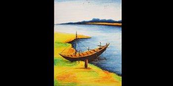 نقاشی منظره رودخانه با پاستل