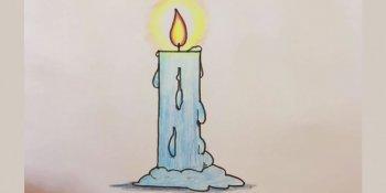 نحوه کشیدن شمع ( کودکان )