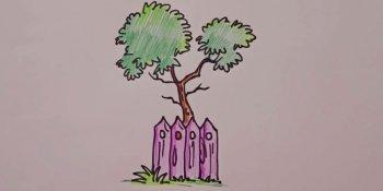 نقاشی درخت پشت پرچین (کودکان)