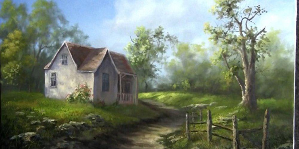 آموزش نقاشی خانه قدیمی با رنگ روغن