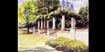 نقاشی منظره باغ با آبرنگ
