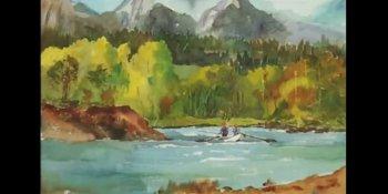 نقاشی آبرنگ ماهیگیری در رودخانه