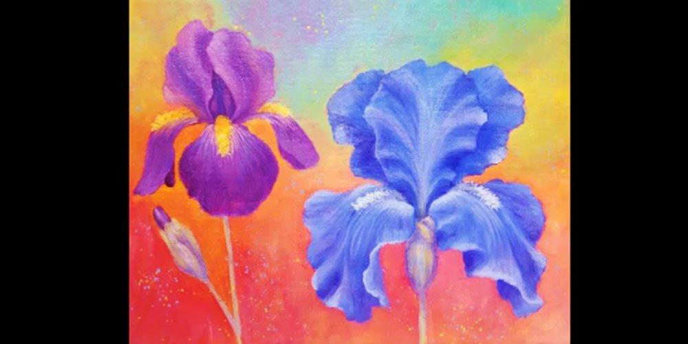 آموزش نقاشی گل زنبق با اکریلیک