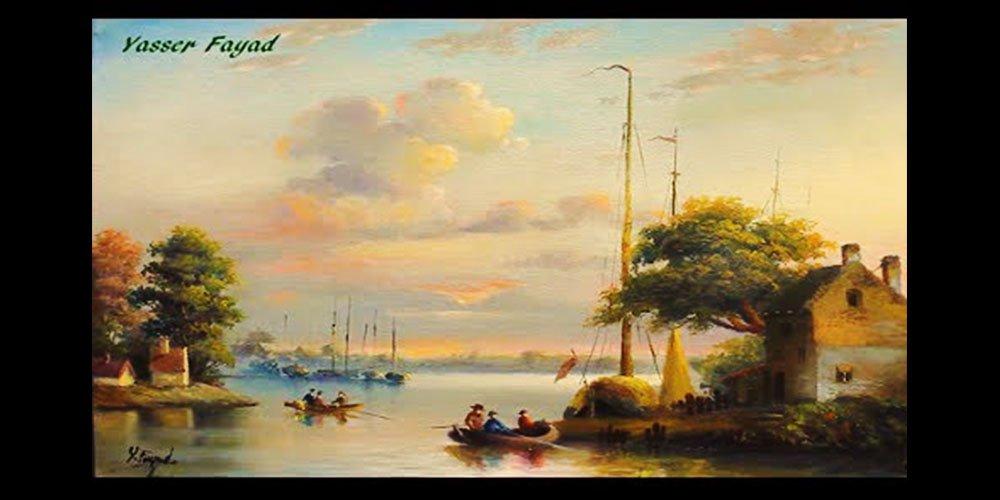 نقاشی رنگ روغن منظره زیبای صبح