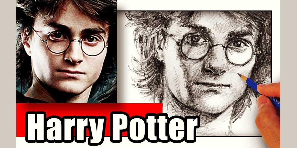 طراحی چهره هری پاتر با مداد