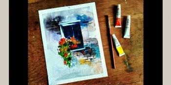 نقاشی از پنجره و گل با آبرنگ