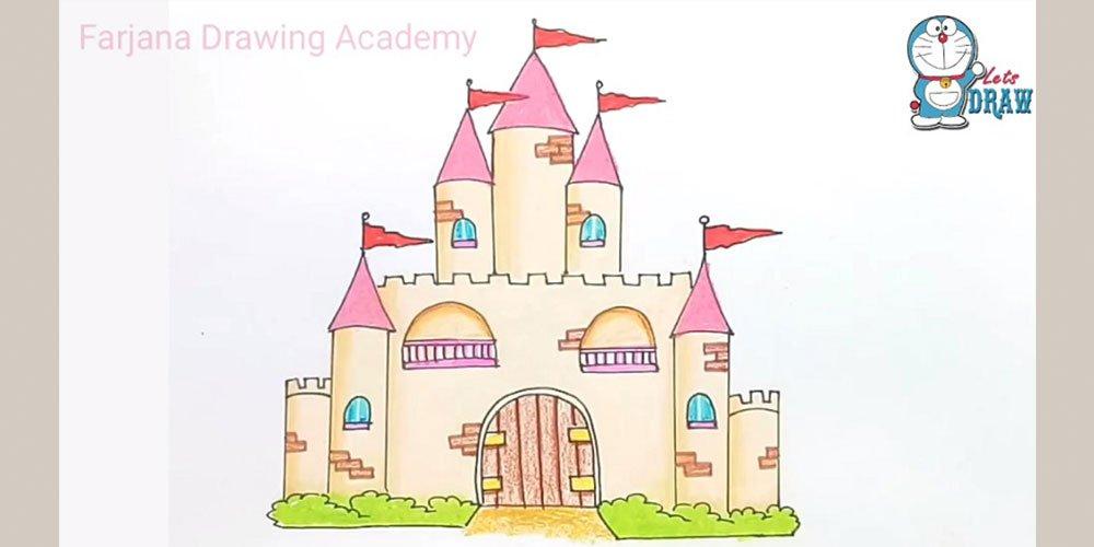 آموزش نقاشی قلعه