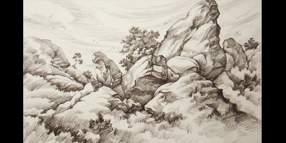 سایه زدن با مداد در طراحی سنگ و صخره