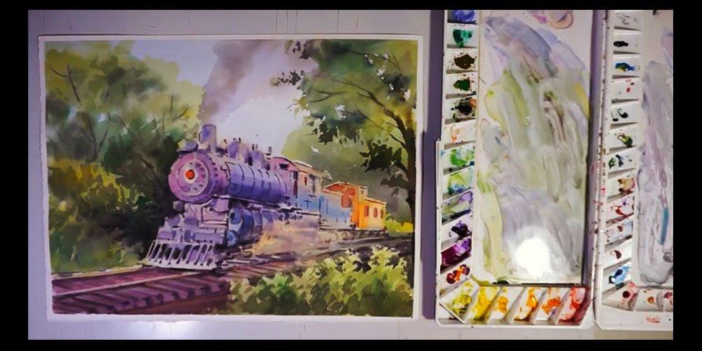 نحوه رنگ آمیزی قطار قدیمی با آبرنگ