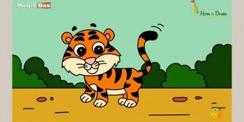 آموزش نقاشی ببر کارتونی برای کودکان