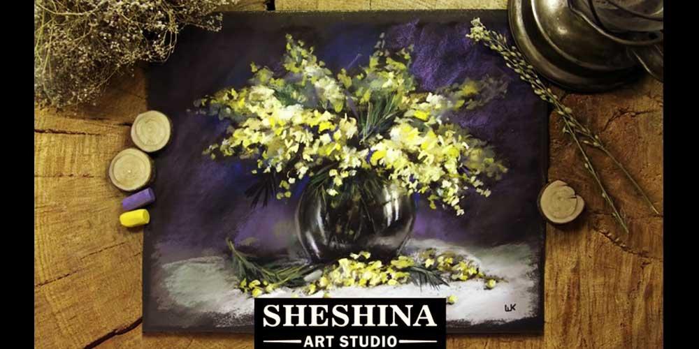 آموزش نقاشی گل در گلدان با پاستل