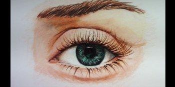 نقاشی چشم با مداد رنگی