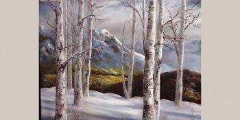 نقاشی نمای برفی با رنگ روغن