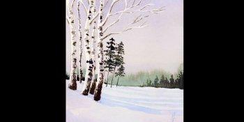 نقاشی منظره زمستان با آبرنگ