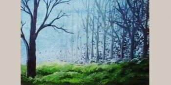آموزش نقاشی جنگل با اکریلیک