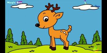 نقاشی گوزن کارتونی ویژه کودکان