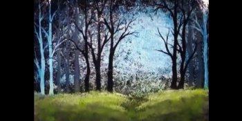 منظره جنگل با اکریلیک