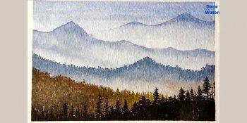 نقاشی چشم انداز کوه با آبرنگ