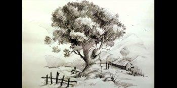 نقاشی درخت در نمای منظره