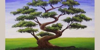 نقاشی درخت بونسای با اکریلیک