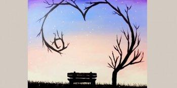 نقاشی منظره مهتابی با اکریلیک