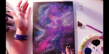نقاشی کهکشان با اکریلیک