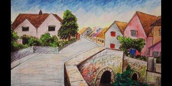 نقاشی روستا با پاستل