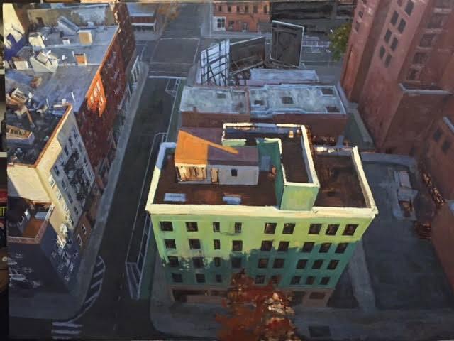 نقاشی منظره شهری با رنگ روغن