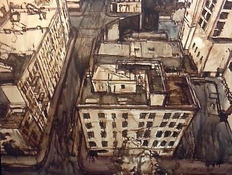 نقاشی منظره شهری