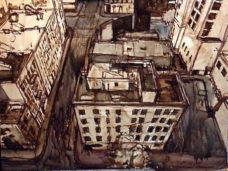 نقاشی پشب بام های شهر