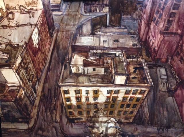 نقاشی منظره شهری از نمای بالا