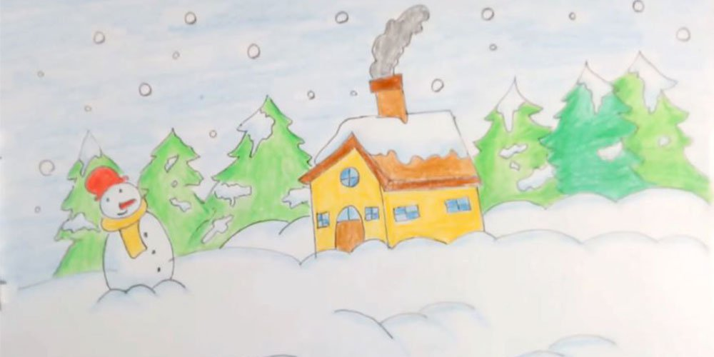 آموزش نقاشی منظره برفی به کودکان