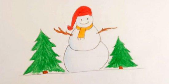 نقاشی آدم برفی کودکانه