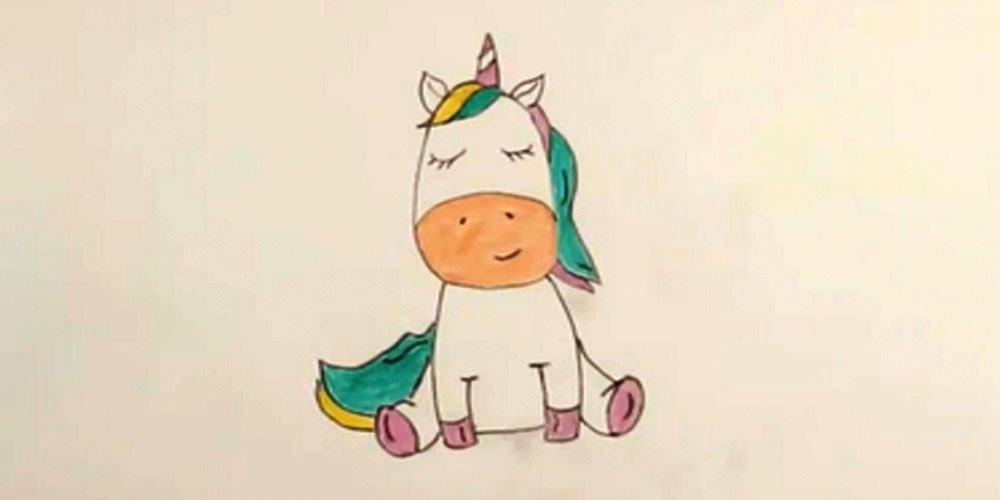نقاشی اسب شاخدار