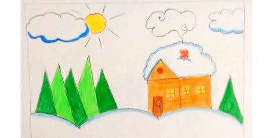 نقاشی منظره برفی کودکانه