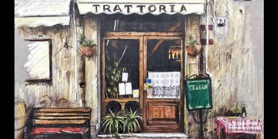 آموزش نقاشی کافه ایتالیایی با مداد رنگی