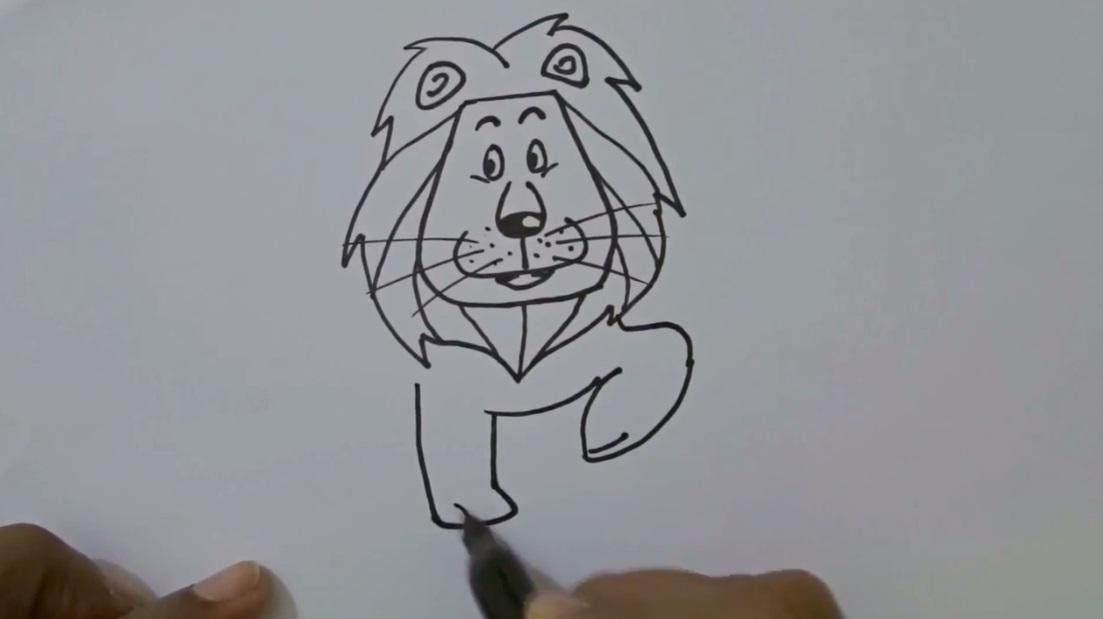 نقاشی شیر برای کودکان - گرافیک آزاد ، آموزش نقاشی و هنر طراحی