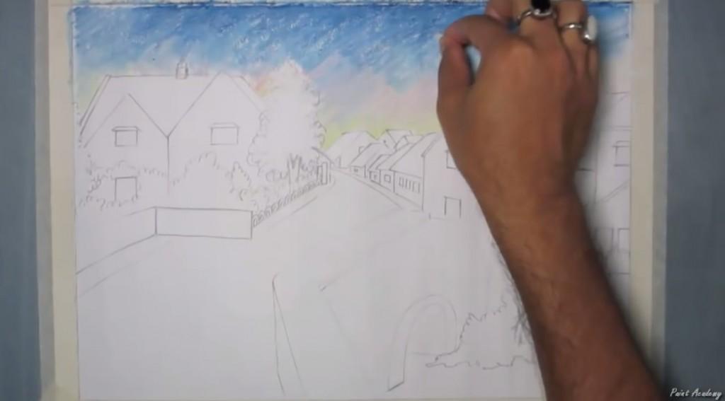 آموزش نقاشی منظره روستا با مداد شمعی
