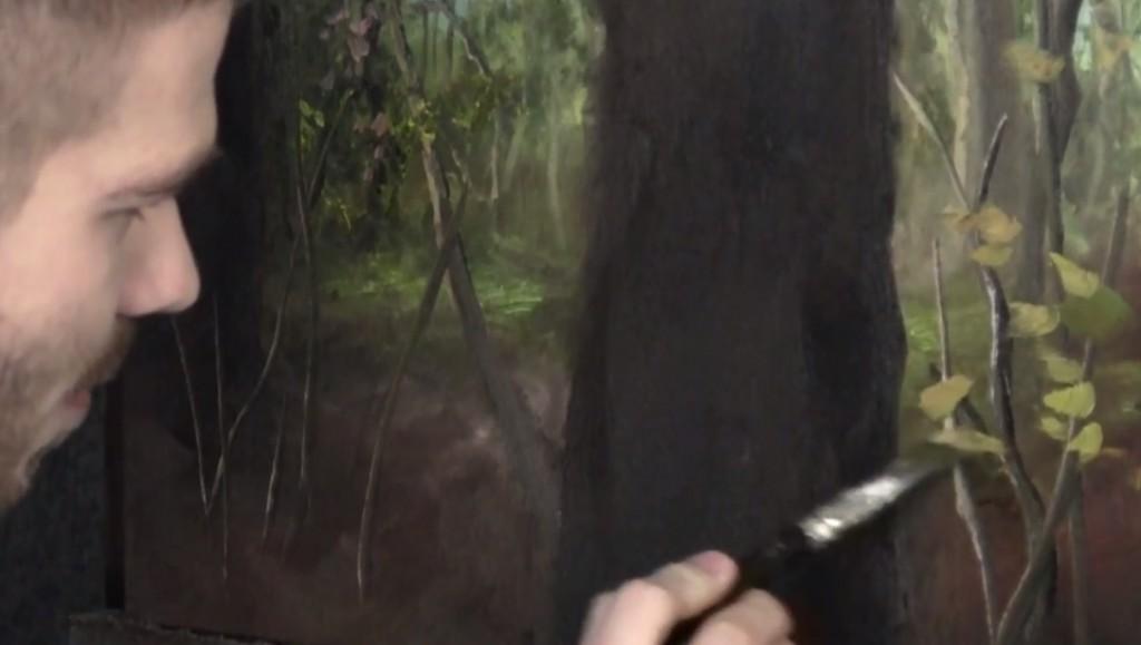 آموزش نقاشی درخت با رنگ روغن