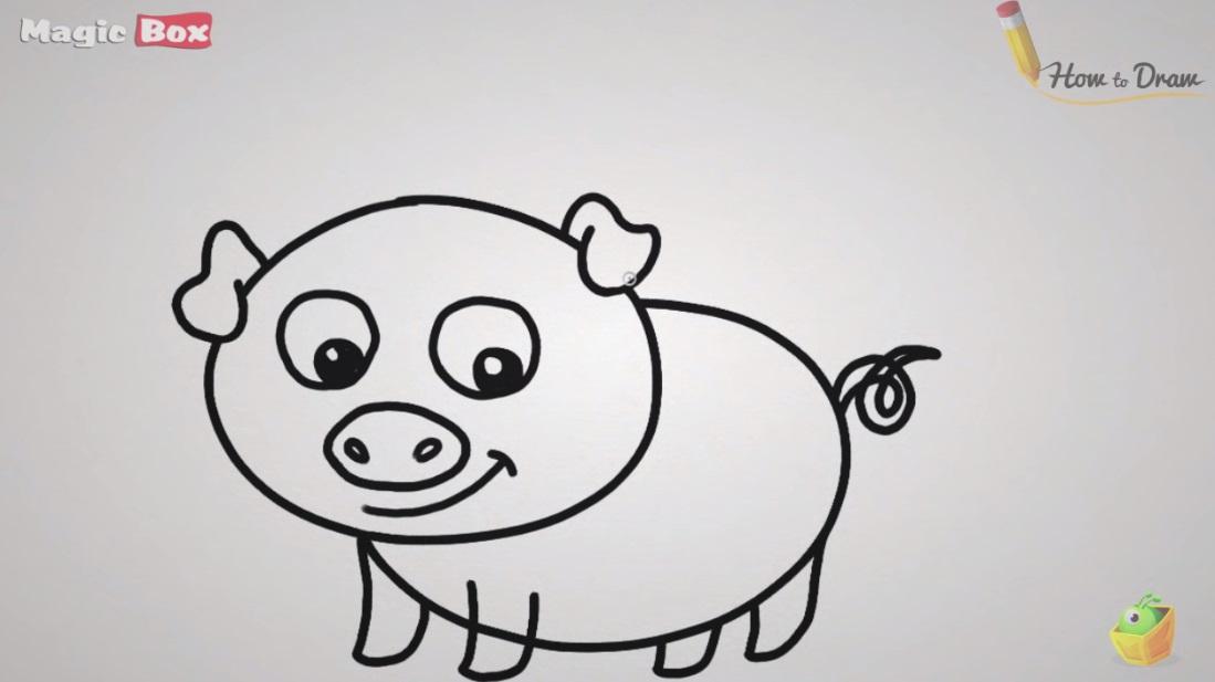 نقاشی کارتونی آموزش نقاشی خوک - گرافیک آزاد ، آموزش نقاشی و هنر طراحی