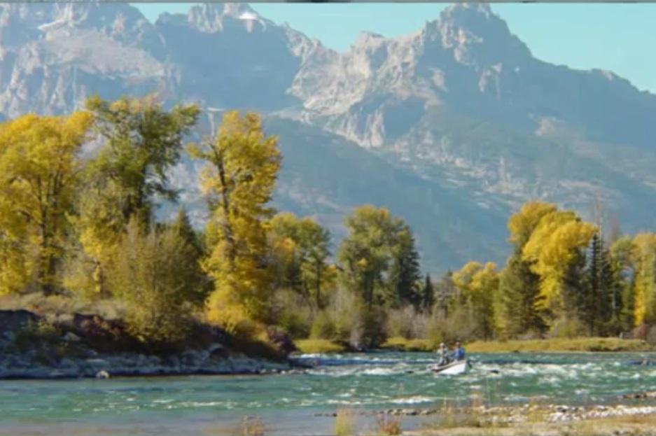 نقاشی منظره ماهیگیری در رودخانه