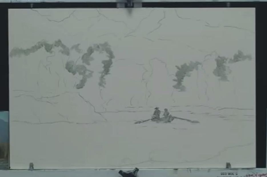 نقاشی ماهیگیری در رودخانه