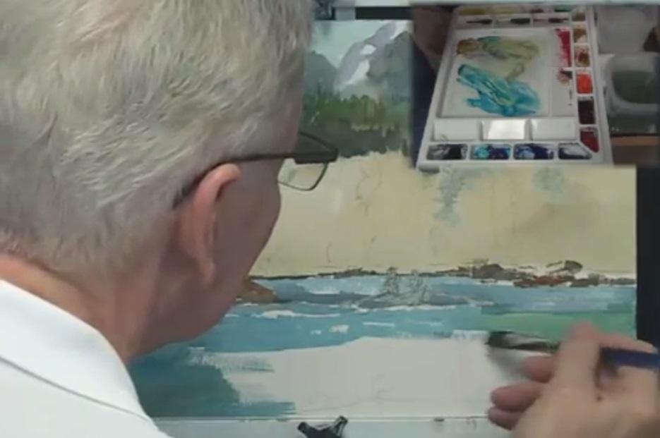 آموزش نقاشی ماهیگیری در رودخانه